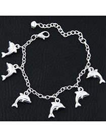 Fashion Silvercolor Dolphin Shape Pendant Decorated Pure Color Bracelet
