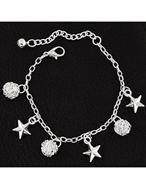 Fashion Silvercolor Star Shape Pendant Decorated Pure Color Bracelet
