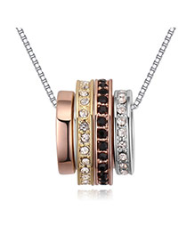 Fashion Champagne Diamond Decorated Color Matching Multi-layer Necklace
