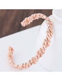 Fashion Rose Gold Twist Shape Decorated Pure Color Opening Bracelet