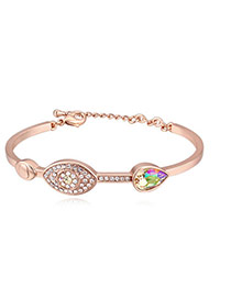 Fashion Champagne+green Eye Shape Decorated Color Matching Simple Bracelet