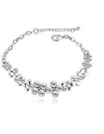 Fashion White Round Shape Diamond Decorated Flower Shape Pure Color Bracelet