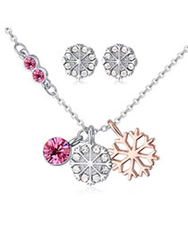 Fashion Plum Red Snowflake Pendant Decorated Color Matching Jewelry Sets