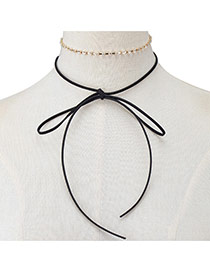 Elegant Black Bowknot Pendant Decorated Doule Layer Chocker