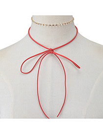 Elegant Claret-red Bowknot Pendant Decorated Doule Layer Chocker