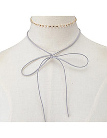 Elegant Gray Bowknot Pendant Decorated Doule Layer Chocker