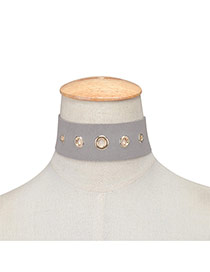 Exaggerated Gray Hollow Out Rivet Decorated Pure Color Chocker