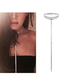 Fashion Silver Color Lond Tassel Pendant Decorated Pure Color Double Layer Choker