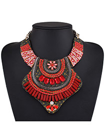 Fashion Red Square Shape Diamond Decorated Irregular Shape Necklace