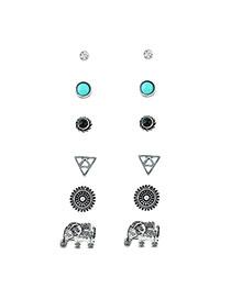 Fashion Silver Color Round Shape Diamond Decorated Elephant Shape Earrings (6pcs)