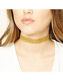 Fashion Yellow Pure Color Design Hollow Out Simple Choker