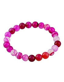 Fashion Purple Gemstone Decorated Color Matching Design Simple Bracelet