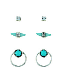 Fashion Blue Gemstone Decorated Irregular Shape Design Simple Earrings (3pcs)