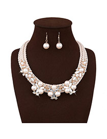 Personalized White Pearls&diamond Decorated Multi-layer Simple Jewelry Sets