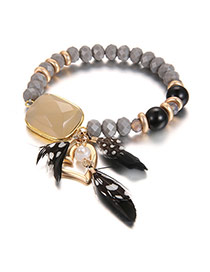 Fashion Gray Feather&heart&square Shape Diamond Decorated Simple Bracelet