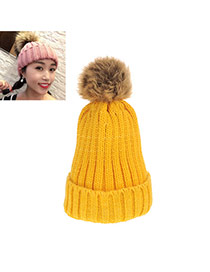 Sweet Yellow Fuzzy Ball Decorated Pure Color Cap