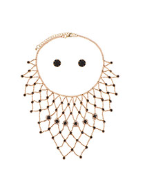 Fashion Gold Color Round Shape Diamond Decorated Hollow Out Design Jewelry Sets