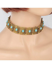 Fashion Gold Color Oval Shape Gemstone Decorated Square Shape Choker