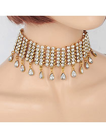 Fashion Gold Color Water Drop Diamond Pendant Decorated Hollow Out Choker