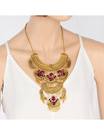 Fashion Gold Color Round Shape Diamond Decorated Sector Shape Design Necklace