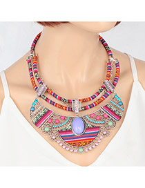 Vintage Multi-color Hollow Out Geometric Shape Decorated Double Layer Necklace