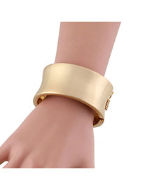 Elegant Gold Color Pure Color Design Simple Width Bracelet