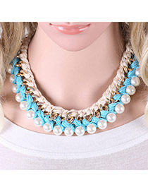 Fashion Blue Pearls Decrated Color Matching Hand-woven Short Chian Necklace