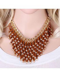 Fashion Coffee Diamond Decorated Tassel Design Pure Color Necklace