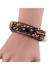 Fashion Coffee Beads&diamond Decorated Handmade Leather Bracelet