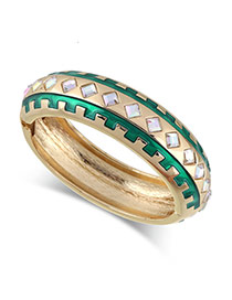 Exaggerated Green Square Shape Diamond Decorated Gear Shape Simple Bracelet
