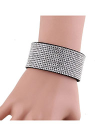 Fashion White Full Diamond Decorated Simple Width Leather Bracelet
