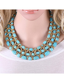 Trendy Blue Beads Decorated Hollow Out Multi-layer Simple Collar Necklace