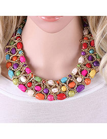 Trendy Multi-color Beads Decorated Hollow Out Multi-layer Simple Collar Necklace