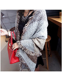 Fashion Coffee Color Matching Deckle Edge Design Scarf