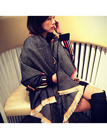 Fashion Black Houndstooth Pattern Decorated Pure Color Scarf