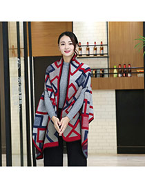 Fashion Red+gray Grid Pattern Decorated Cloak Design Scarf