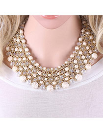 Trendy White Pearls Decorated Multi-layer Handmade Necklace