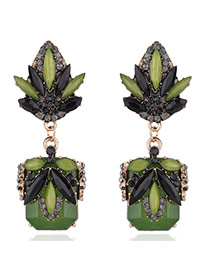 Elegant Green Watershape Diamond Decorated Simple Earrings