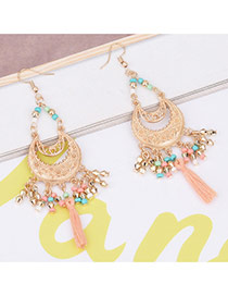 Bohemia Pink Moon Shape Decorated Pure Color Simple Tassel Earrings