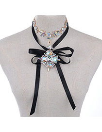 Vintage Multi-color Geometric Shape Diamond Decorated Double Layer Necklace