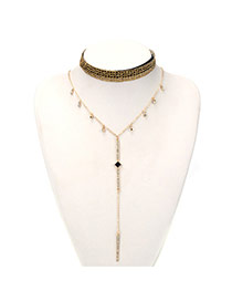 Fashion Gold Color Diamond Shape Decorated Mutilayer Jewelry Sets
