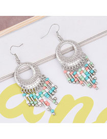 Bohemia Milti-color Tassel Pendant Decorated Simple Earrings