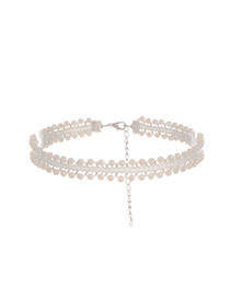 Fashion White Pearls Decorated Hollow Out Pure Color Short Chain Choker