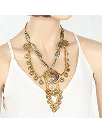 Fashion Gold Color Round Flower Pendant Decorated Double Layer Necklace
