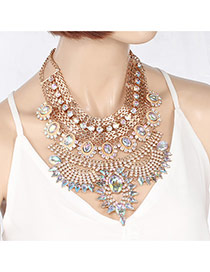 Fashion Multi-color Oval Shape Diamond Decorated Hollow Out Multi-layer Necklace