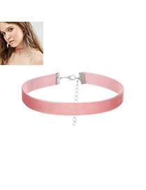 Fashion Pink Pure Color Decorated Short Chain Simple Choker