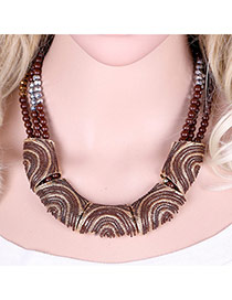 Vinatge Coffee Color Matching Decorated Mutilayer Simple Necklace