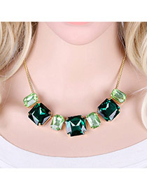 Elegant Green Square Shape Diamond Decorated Simple Short Chain Necklace