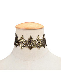 Retro Gold Color Pure Color Decorated Hollow Out Design Choker