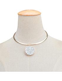 Fashion Gold Color Round Shape Pendant Decorated Short Chain Neckalce